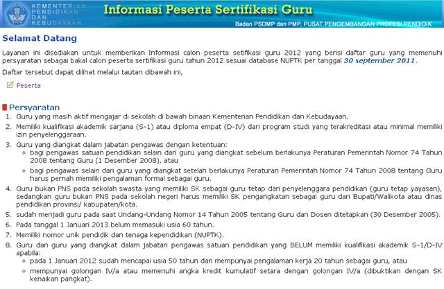 dari basis data NUPTK hasil perbaikan per tanggal 30 September 2011