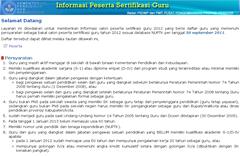laman utama informasi peserta sertifikasi guru